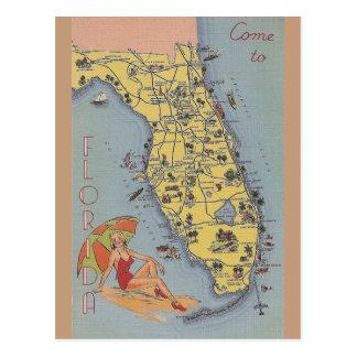Cartão do mapa de Florida do vintage