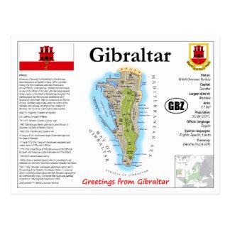 Cartão do mapa de Gibraltar