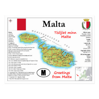 Cartão do mapa de Malta