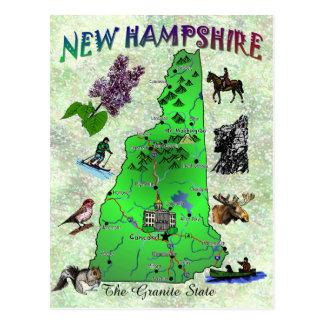 Cartão do mapa do estado de New Hampshire
