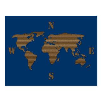 Cartão do mapa do mundo do cartão