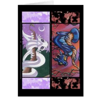 Cartão do marcador de dois dragões