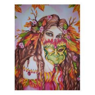 Cartão do mascarada da lua cheia da deusa do