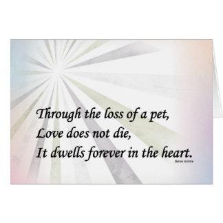 Cartão do memorial da simpatia do animal de