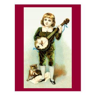 Cartão do menino do banjo