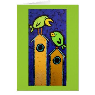 cartão do mentor com pássaros e birdhouses