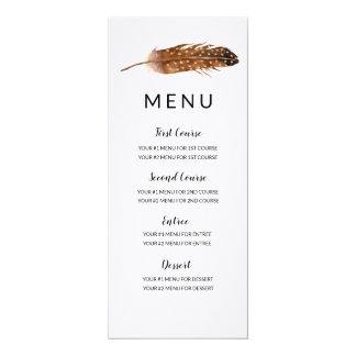 Cartão do menu da aguarela da pena