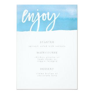 Cartão Cartão do menu do casamento, aguarela azul