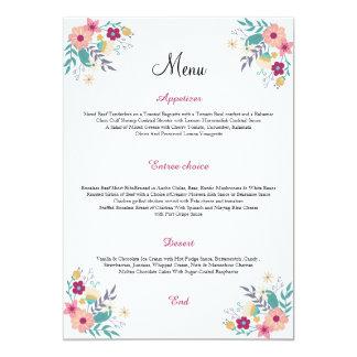 Cartão do menu do casamento convite 12.7 x 17.78cm