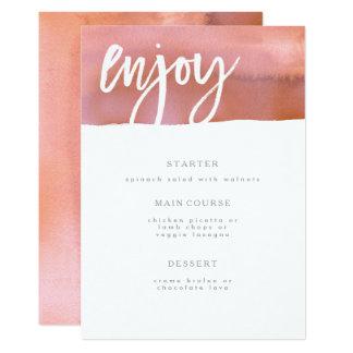 Cartão Cartão do menu do casamento, coral, aguarela