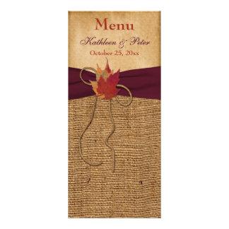 Cartão do menu do casamento de serapilheira do FAL 10.16 X 22.86cm Panfleto