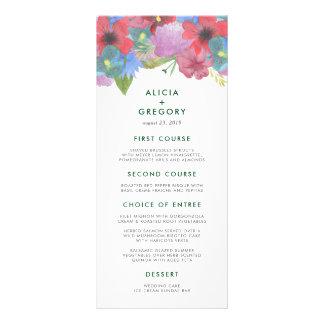 Cartão do menu do casamento do buquê do Wildflower