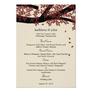 Cartão do menu do casamento do carvalho convite 12.7 x 17.78cm