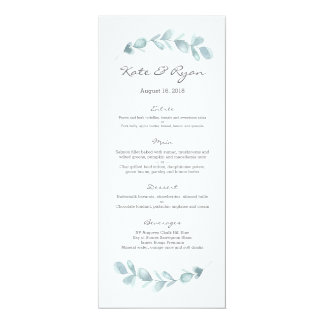Cartão do menu do casamento do jardim do eucalipto