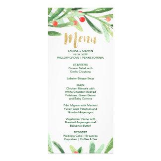 Cartão do menu do comensal da grinalda do azevinho