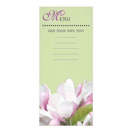 Cartão do menu do comensal, flores cor-de-rosa da panfletos informativos personalizados
