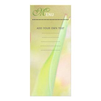 Cartão do menu do comensal, folha verde macia