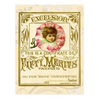 Cartão do mérito do vintage para o bom