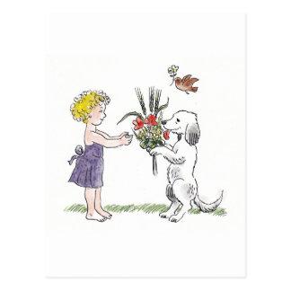 Cartão do miúdo e do animal de estimação