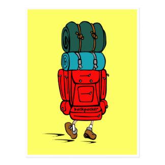 Cartão do mochileiro dos desenhos animados cartões postais
