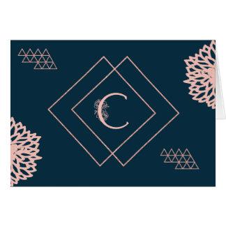 """Cartão do monograma """"C"""" no marinho e no rosa"""