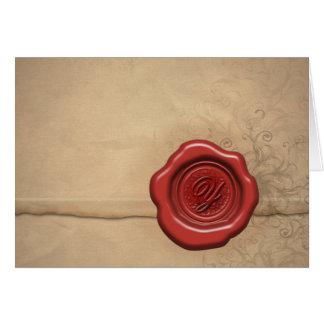 Cartão do monograma da cera de selagem: Letra Y