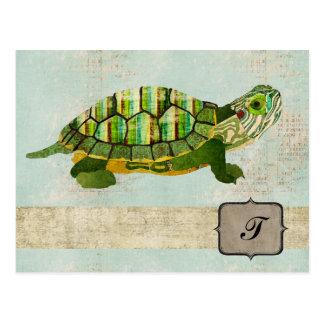 Cartão do monograma da tartaruga do jade cartão postal