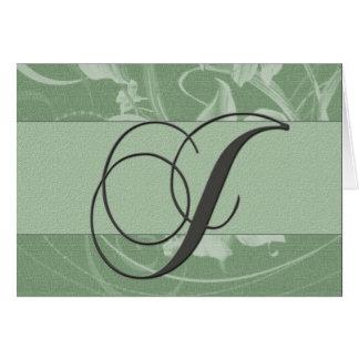 Cartão do monograma do verde prudente - J inicial