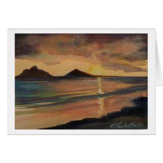 Cartão do nascer do sol da praia de Lanikai