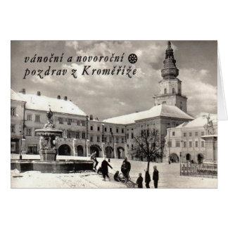 Cartão do Natal checo do vintage e do ano novo