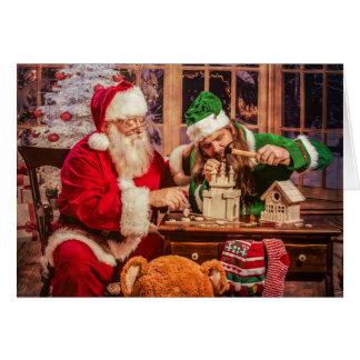 Cartão do Natal com papai noel e duende