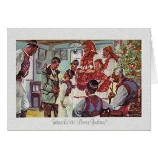 Cartão do Natal croata do vintage e do ano novo