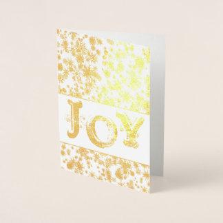 Cartão Metalizado Cartão do Natal da ALEGRIA da folha de ouro