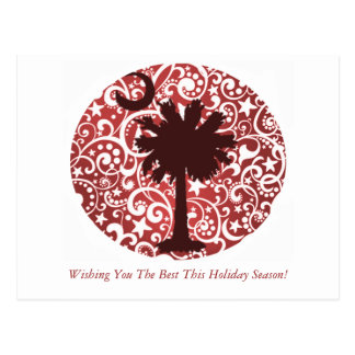 Cartão do Natal da árvore e da lua do Palmetto
