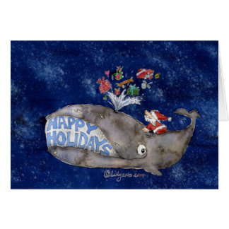 Cartão do Natal da baleia boas festas