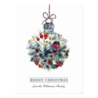Cartão do Natal da bola de vidro do Bullfinch