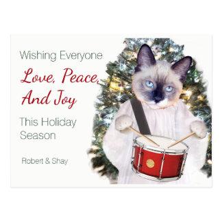 Cartão do Natal da canção de natal do gatinho