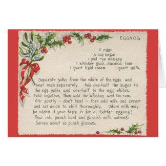 Cartão do Natal da receita da gemada do vintage