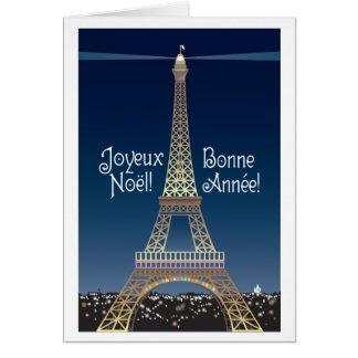 Cartão do Natal da torre Eiffel