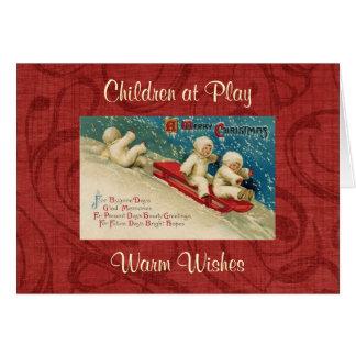 Cartão do Natal das crianças do Victorian do