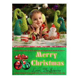 Cartão do Natal de Bels de tinir personalizado