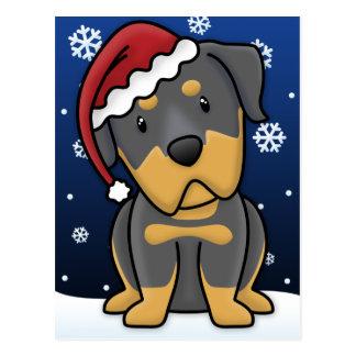 Cartão do Natal de Kawaii Rottweiler