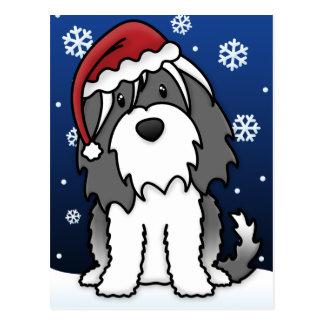 Cartão do Natal de Kawaii Terrier tibetano