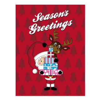 Cartão do Natal de Papai Noel & de rena