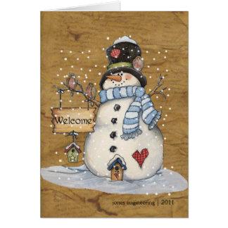 Cartão do Natal do boneco de neve da arte popular