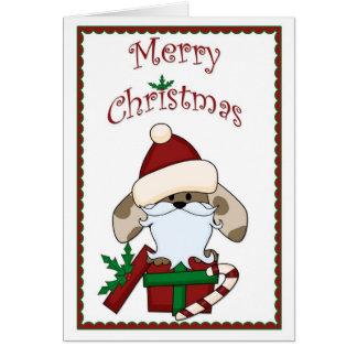 Cartão do Natal do cão do papai noel