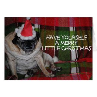 Cartão do Natal do cão do Pug