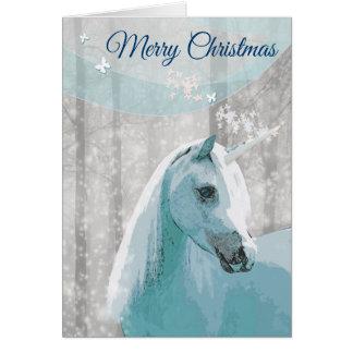 Cartão do Natal do cavalo do unicórnio