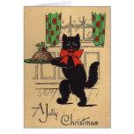 Cartão do Natal do gato preto do vintage