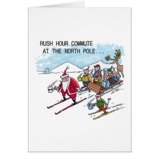 Cartão do Natal do humor das horas de ponta do